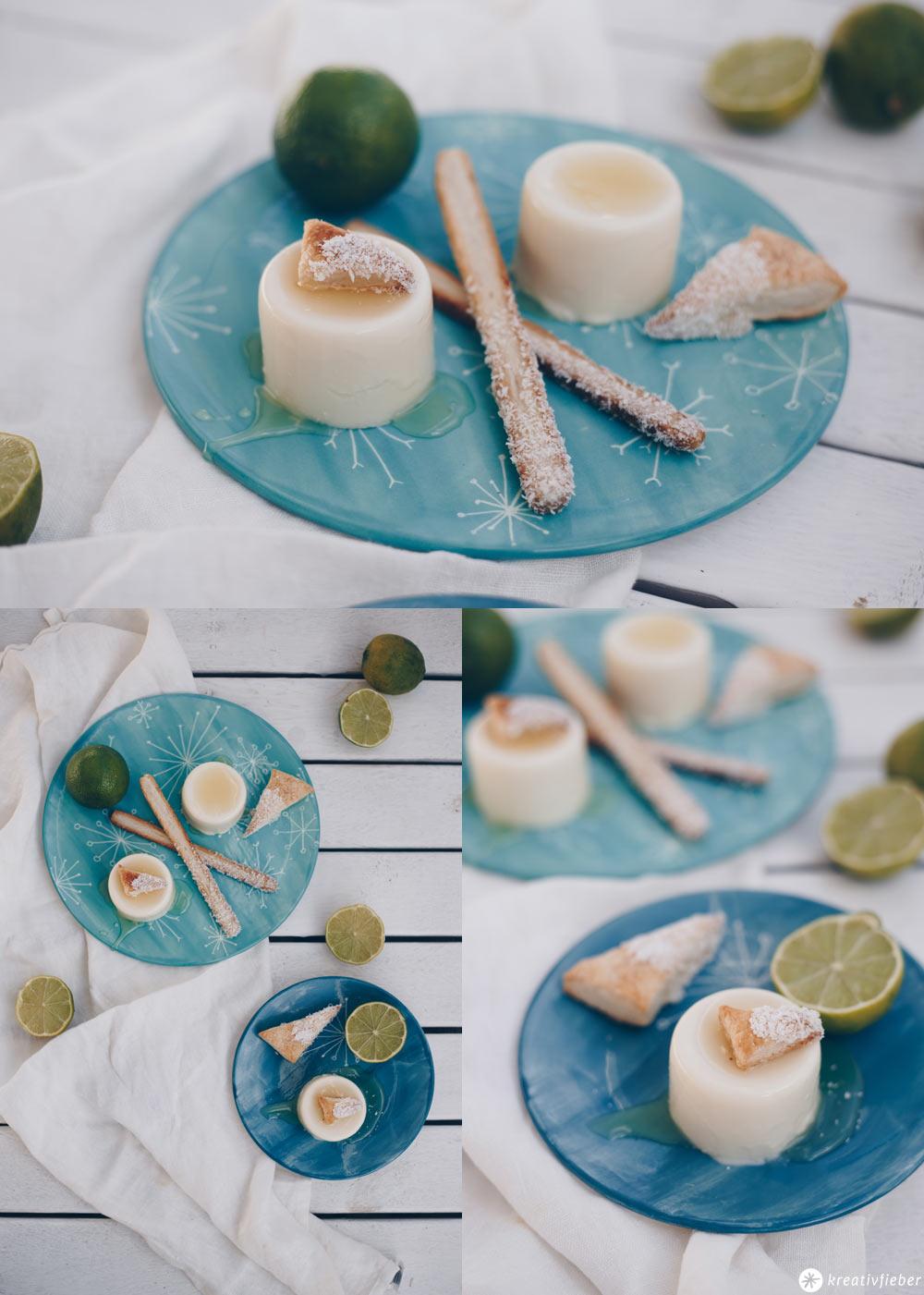 Panna Cotta mit Kokos und Limetten - Dessert Idee selbermachen