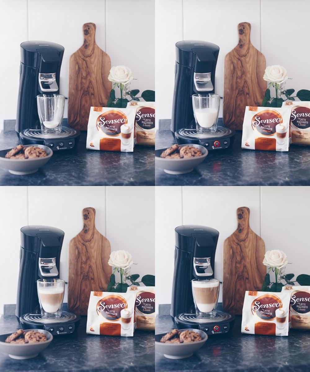 Senseo Latte Macchiato Caramel zubereiten - Genussmomente - DIY beschreibbares Tablett kreativfieber