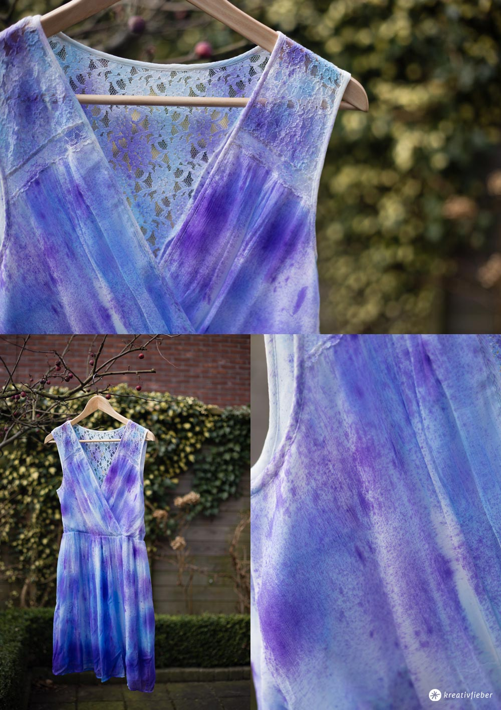 DIY Kleid Upcycling mit Seidenfarbe - So einfach lassen sich Textilien färben - Kreativfieber