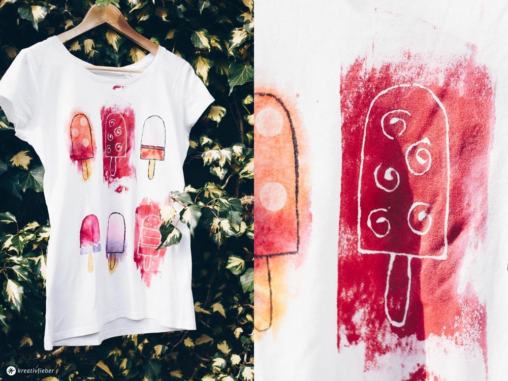 DIY Popsicle Shirt - Textilmaltechniken - Stoff bleichen, Stoffblockierer und Wasserfarbenlook selbermachen mit Textilfarbe