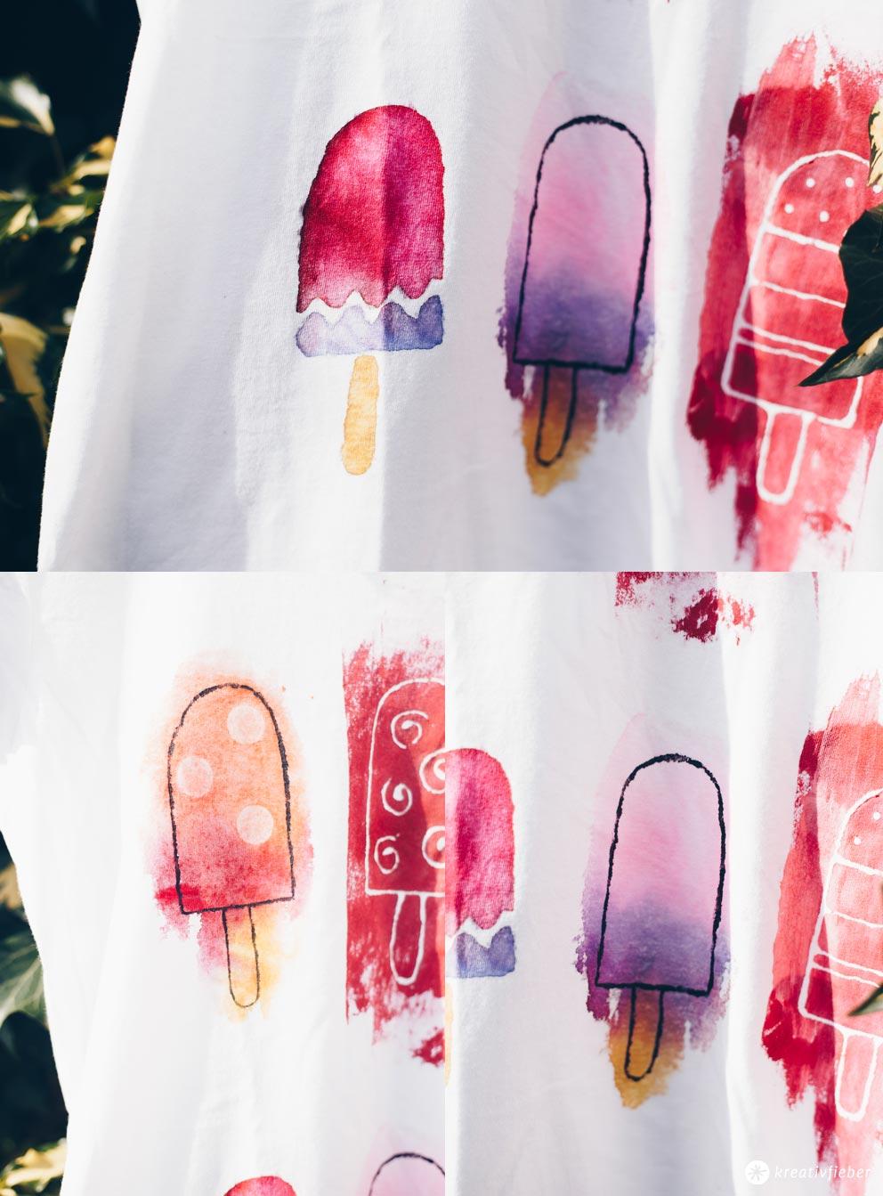 DIY Popsicle Shirt - Textilmaltechniken - Stoff bleichen, Stoffblockierer und Wasserfarbenlook selbermachen