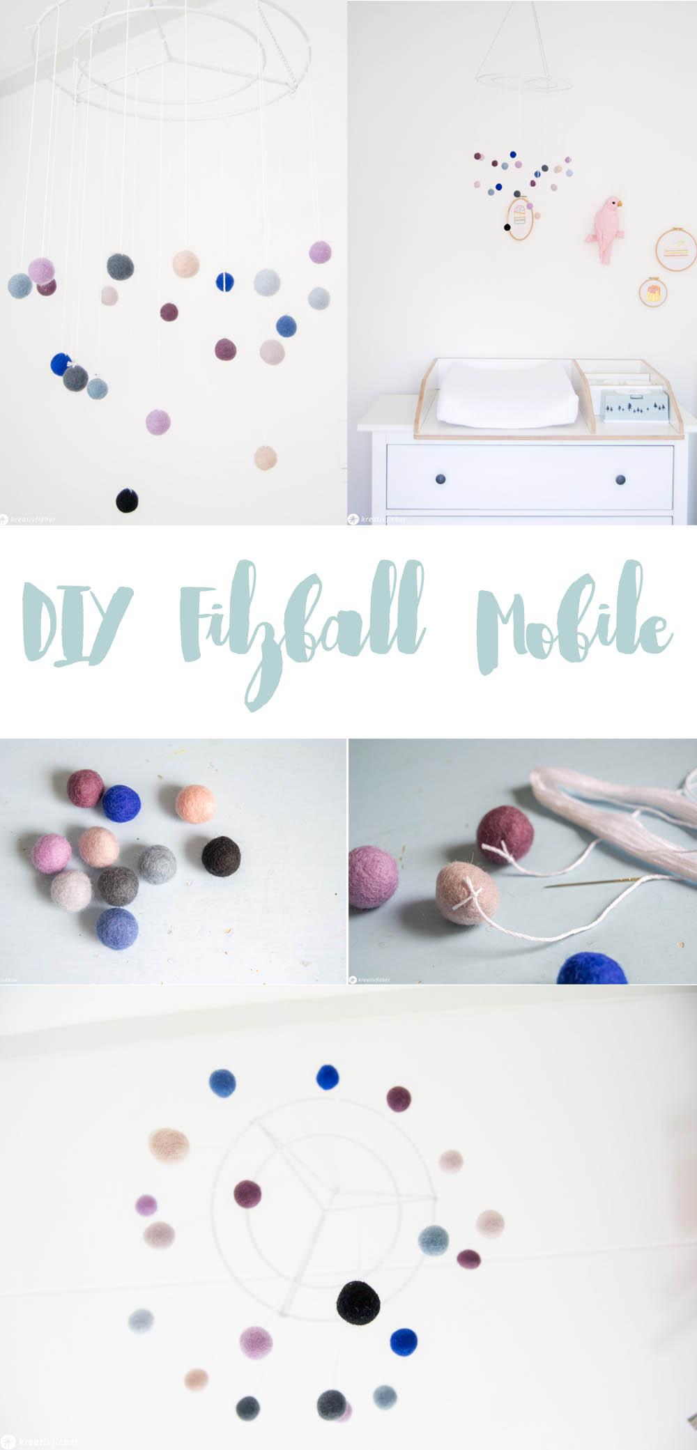 DIY Filzball Mobile fürs Kinderzimmer