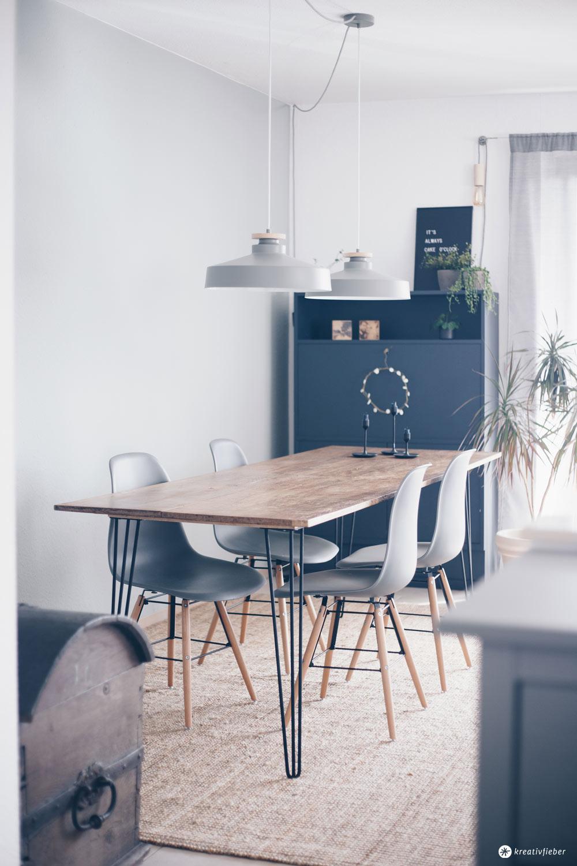 DIY Esstisch mit Hairpin Legs selbermachen - DIY Möbel bauen - DIY Tutorial auf Kreativfieber- Interior DIY