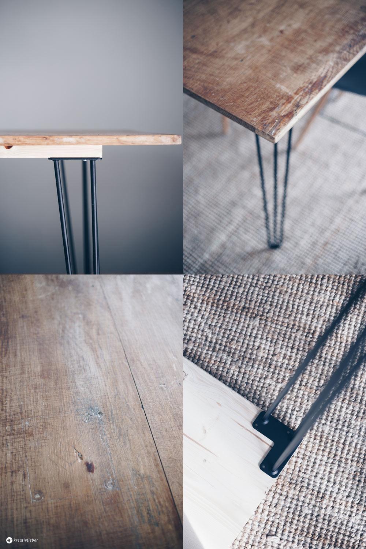 DIY Esstisch mit Hairpin Legs selbermachen - DIY Möbel bauen - einfaches DIY Tutorial auf Kreativfieber