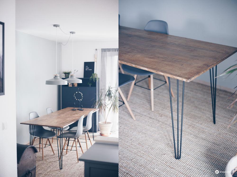 DIY Esstisch mit Hairpin Legs selbermachen - DIY Möbel bauen - DIY Tutorial auf Kreativfieber