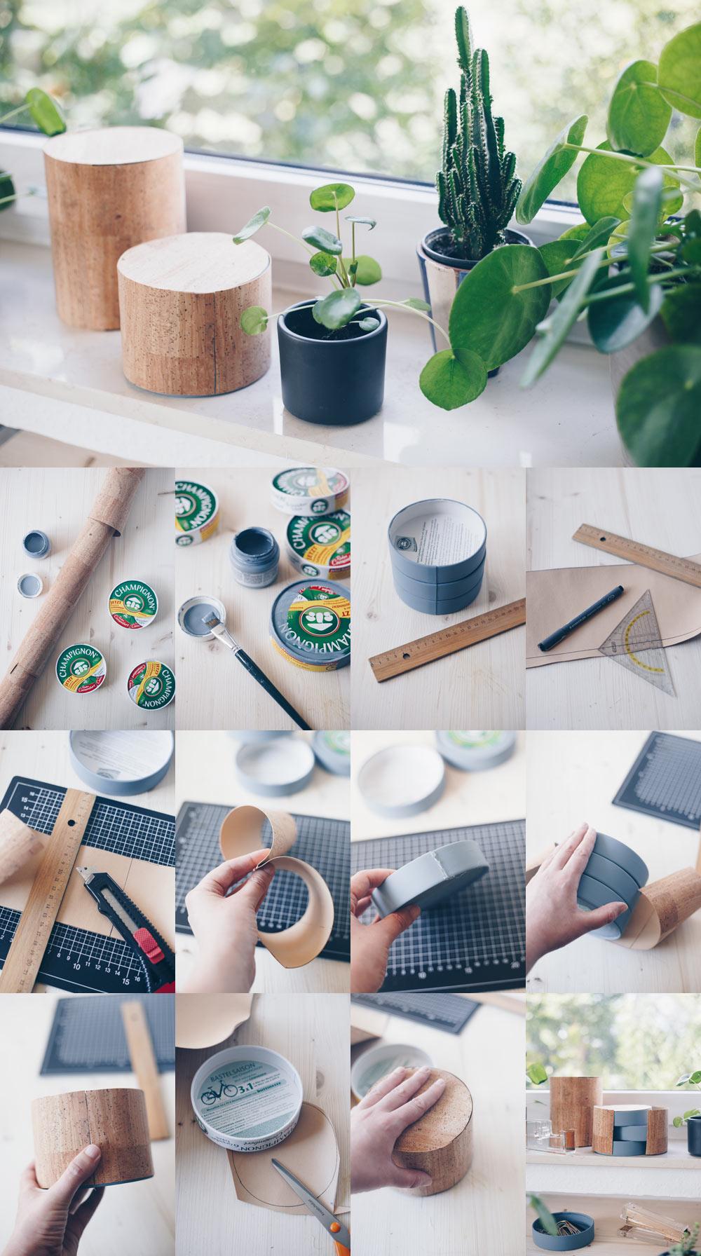 DIY Organizer fürs Büro selbermachen - Upcycling mit Camenbert Schachteln - Basteln mit Papier