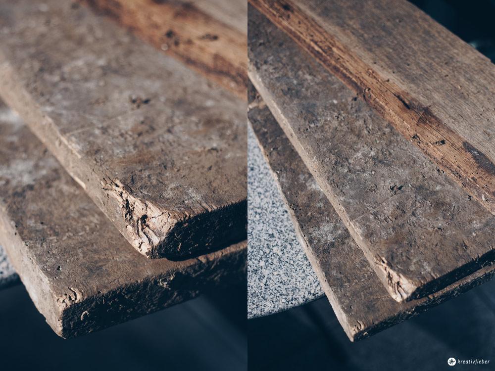 DIY Regal aus alten Holzdielen - vorher - altes Holz bearbeiten