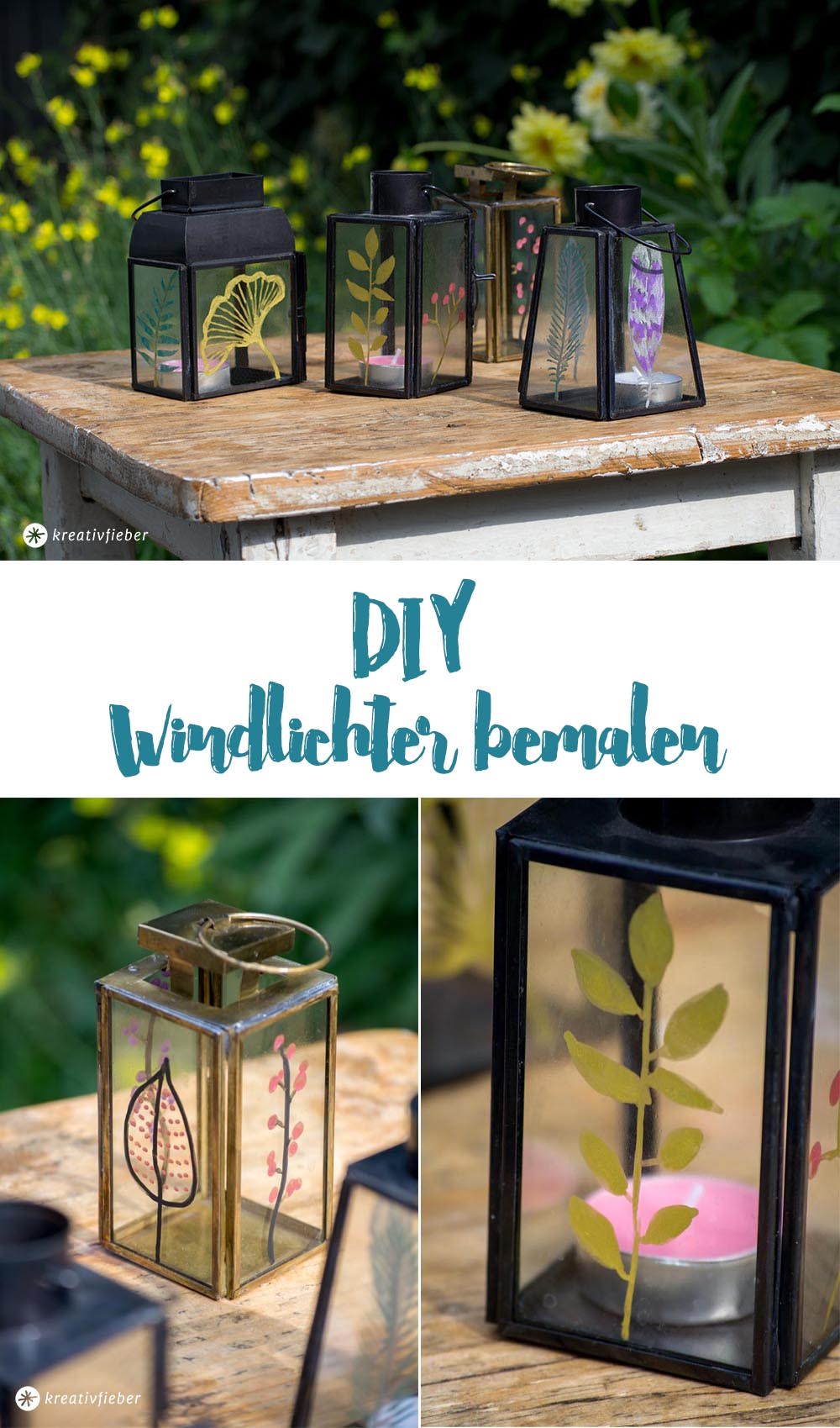 Gartendeko DIY Windlichter bemalen im Boho-Stil