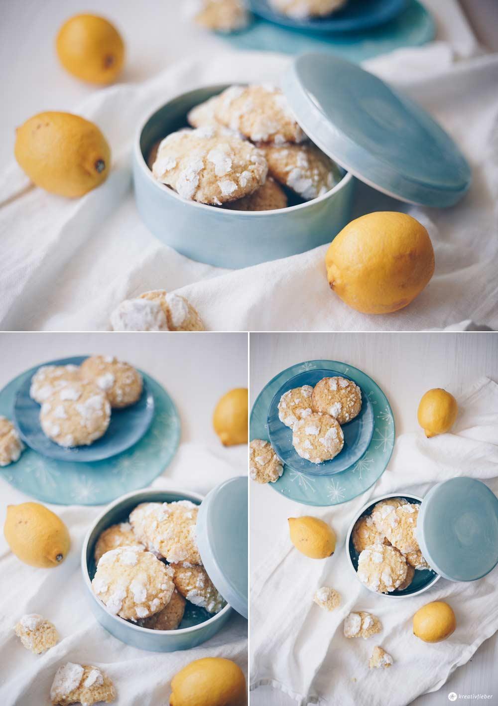 Lemon Crinkle Cookies mit Ingwer backen - einfaches Rezept mit Zitrone - Cookie Rezepte