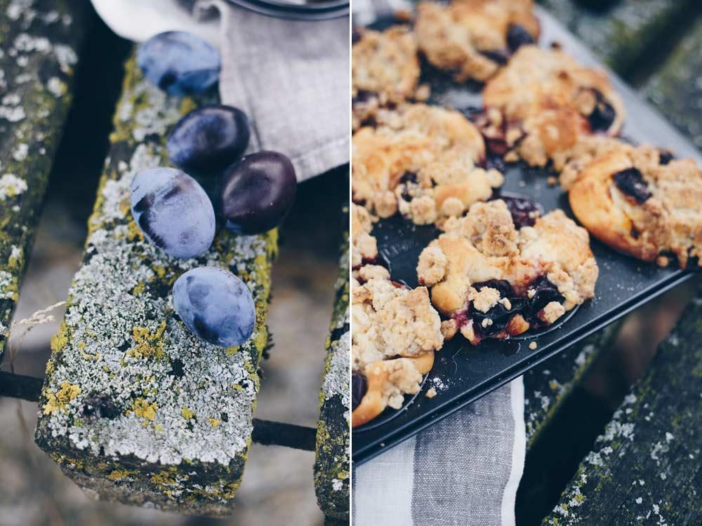 Pflaumenmuffins mit Walnussstreuseln - leckeres saftiges Rezept für Muffins - Pflaumenrezepte für den Herbst