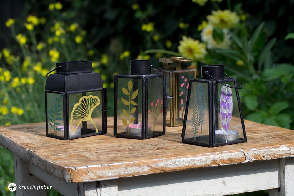 DIY Windlichter bemalen Laternen im Boho Stil