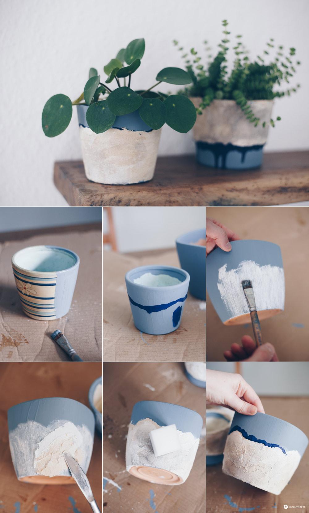 DIY Blumentöpfe mit Steinoptik selbermachen - Schritt für Schritt - Upcycling Ideen - DIY Tutorial - DIY Deko