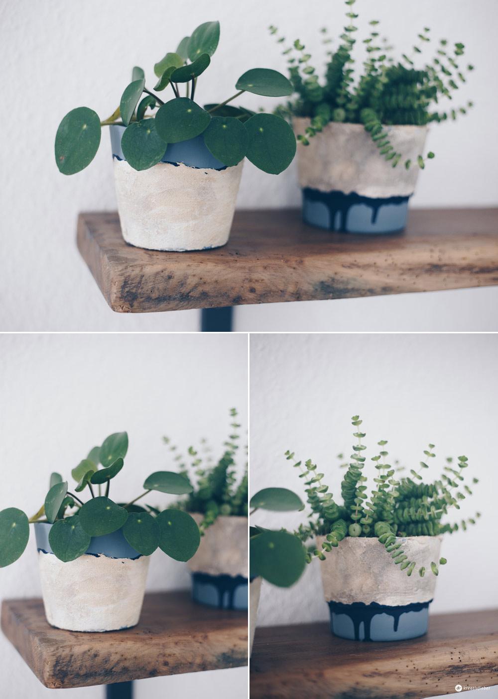 DIY Blumentöpfe mit Steinoptik selbermachen - Upcycling Ideen - DIY Tutorial - DIY Deko Ideen Kreativfieber