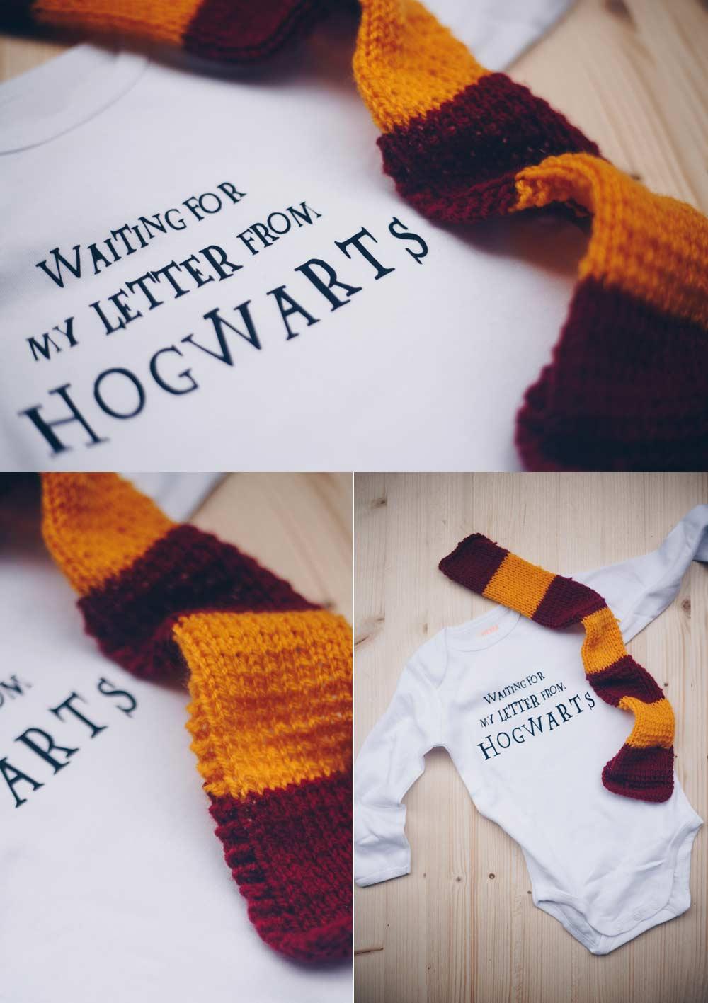 DIY Harry Potter Babybody selbermachen und Gryffindorschal stricken - Geschenkidee für Potterheads- Harry Potter Strampler plotten