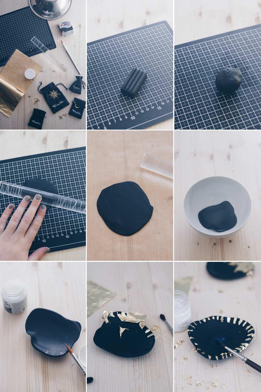 DIY Schmuckschälchen mit Blattgold - Schritt für Schritt Anleitung für ein Schälchen im Keramiklook mit Blattgold
