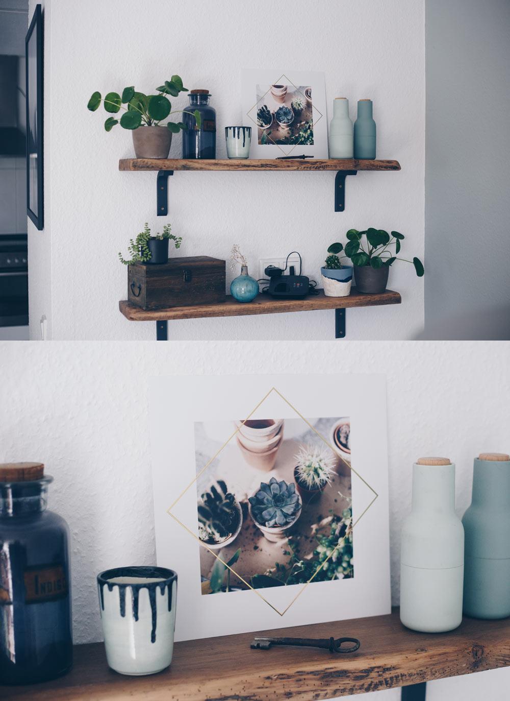 Wandbilder mit Pflanzen als Deko-Element nutzen - Sukkulenten und Gold