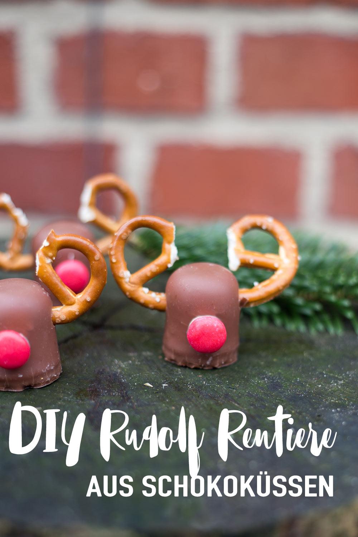 DIY Rudolf Rentiere aus Schokoküssen - Weihnachtstischdeko Idee - süße Rezeptideen mit Schokoküssen