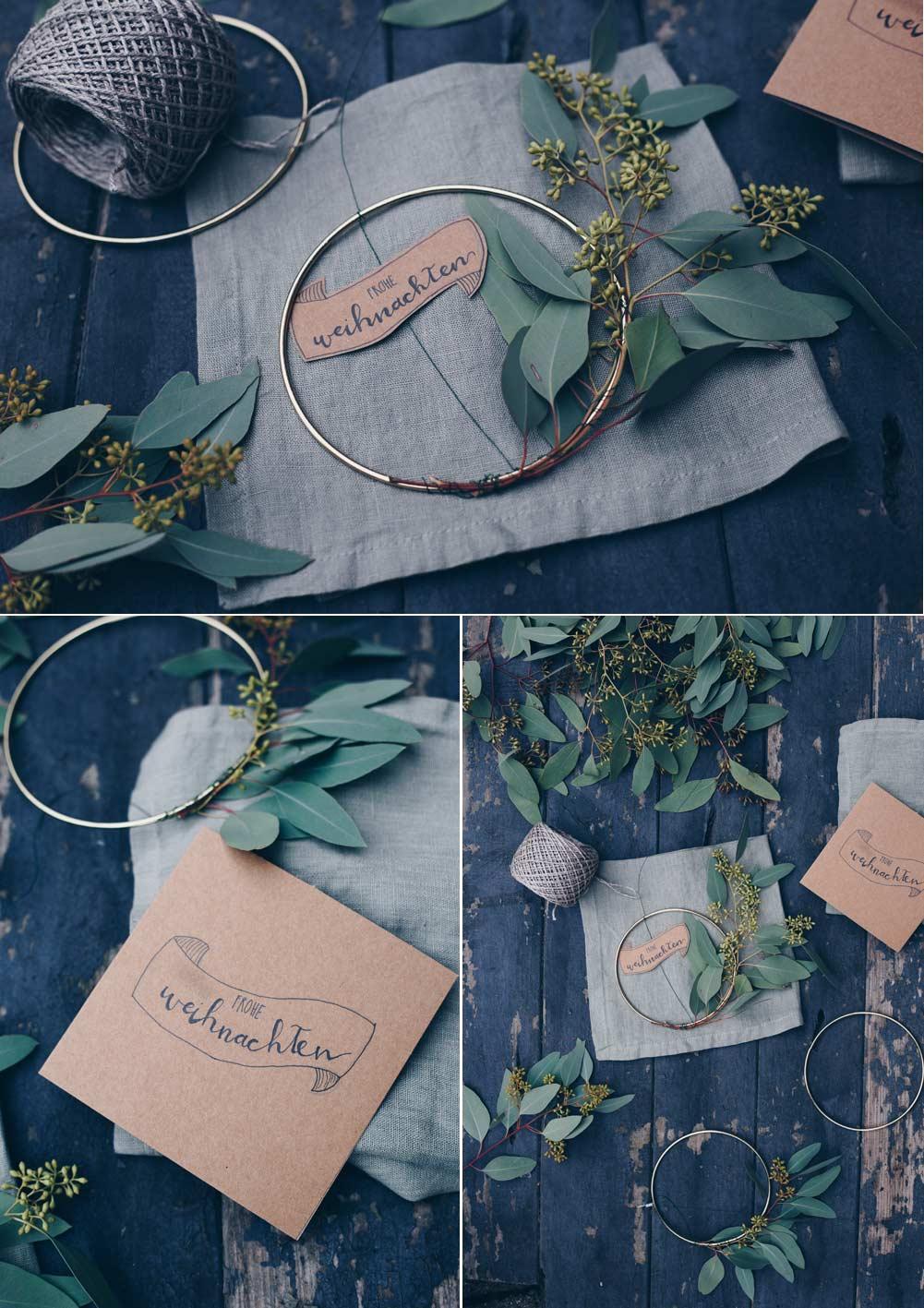 DIY Geschenkidee für die beste Freundin - Winterkranz mit Eukalyptus selbermachen - mit Weihnachtshandlettering