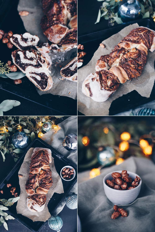 Süßes Nussbrot mit gebrannten Mandeln und Nutella selbermachen - leckeres Brunchrezept für Weihnachten