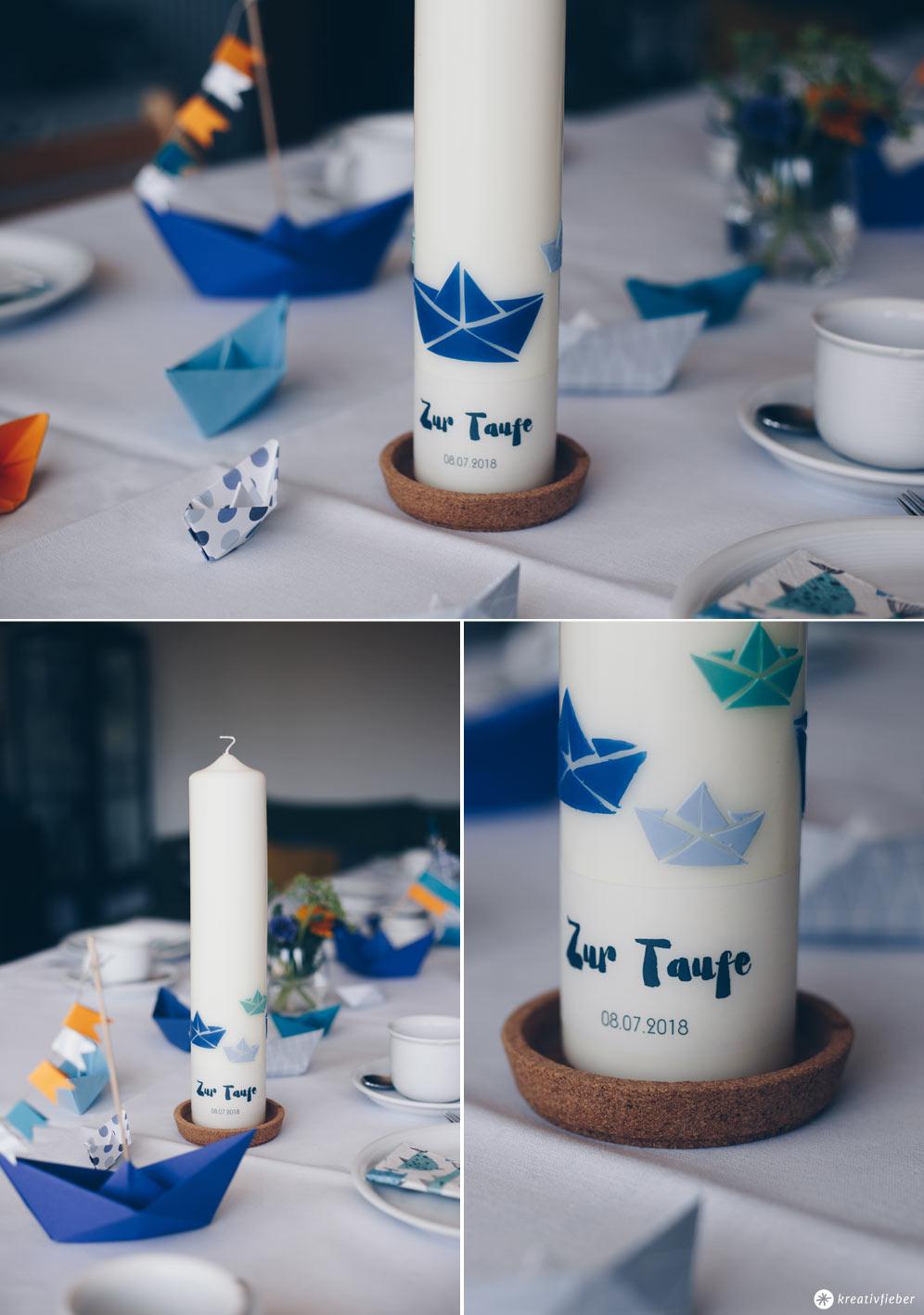 DIY Taufkerze selbermachen - Schritt für Schritt Anleitung mit Wachsplatten und Transparentpapier - Taufe mit Booten - Origami Boote zur Taufe