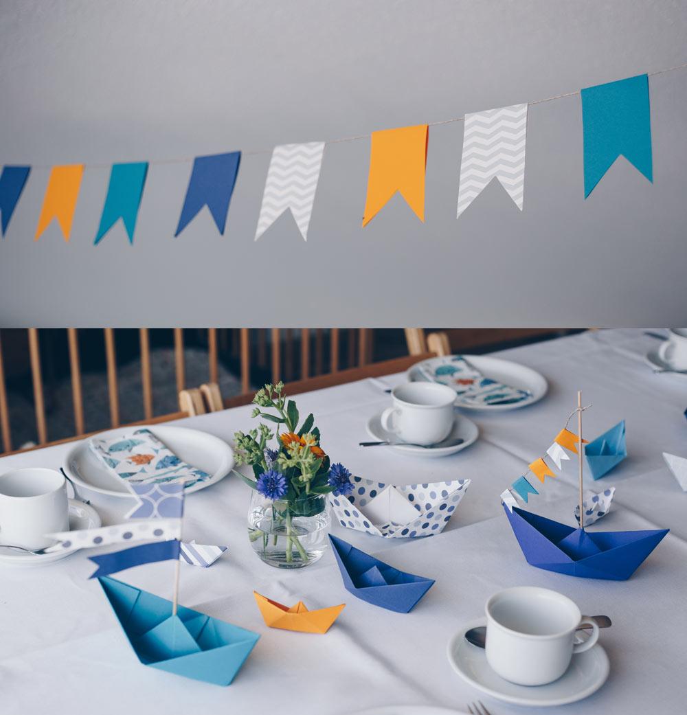 DIY Tischdeko zur Taufe mit Booten - Origamiboote Schritt für Schritt Faltanleitung - Tauffeier Ideen - maritimes Motto
