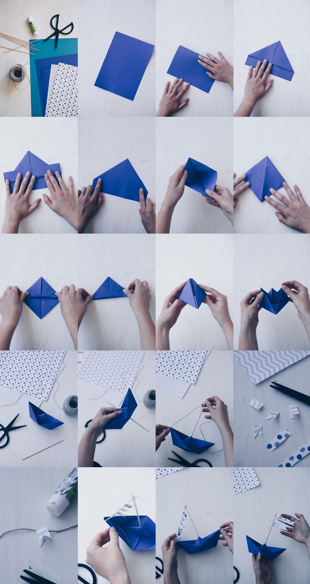 DIY Tischdeko zur Taufe mit Booten - Origamiboote mit Fähnchen selbermachen - Schritt für Schritt Faltanleitung