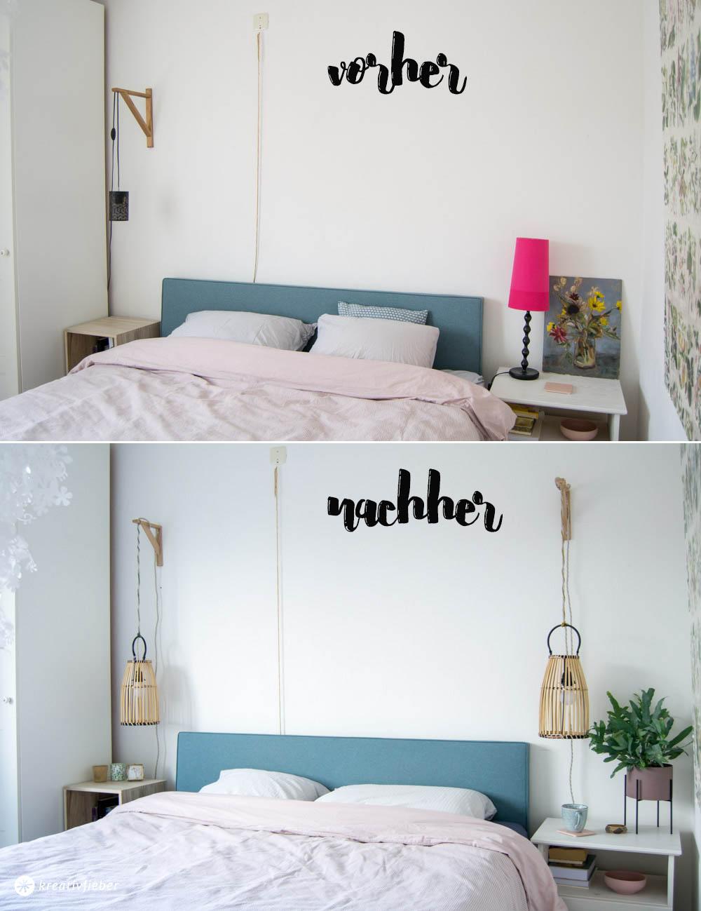 vorher nachher Lampen im Schlafzimmer
