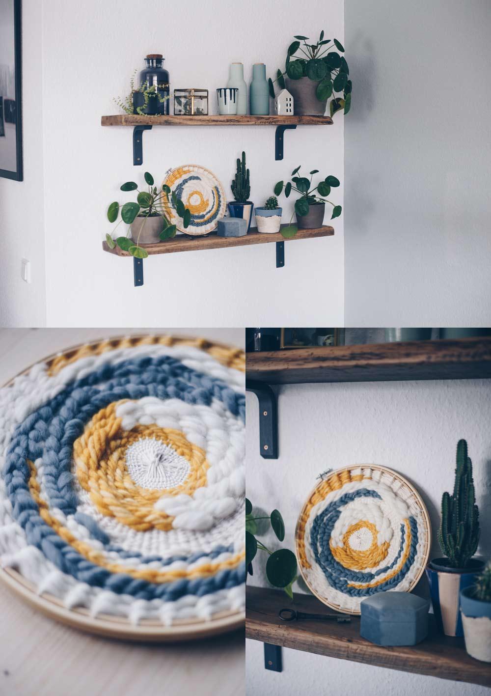 DIY rundes Wandbild selbermachen - circular weaving- alle Grundtechniken mit Schritt für Schritt Fotos
