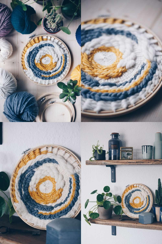 DIY rundes Wandbild selbermachen - einfache Webtechnik im Stickrahmen - alle Grundtechniken mit Schritt für Schritt Fotos