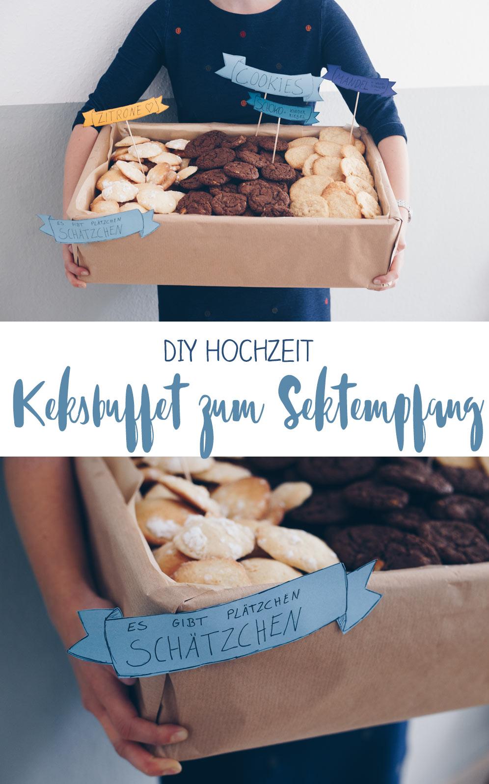 Keksbuffet zum Sektempfang - Idee für die DIY Hochzeit - Cookies zum Sektempfang - einfach vorzubereiten und günstig
