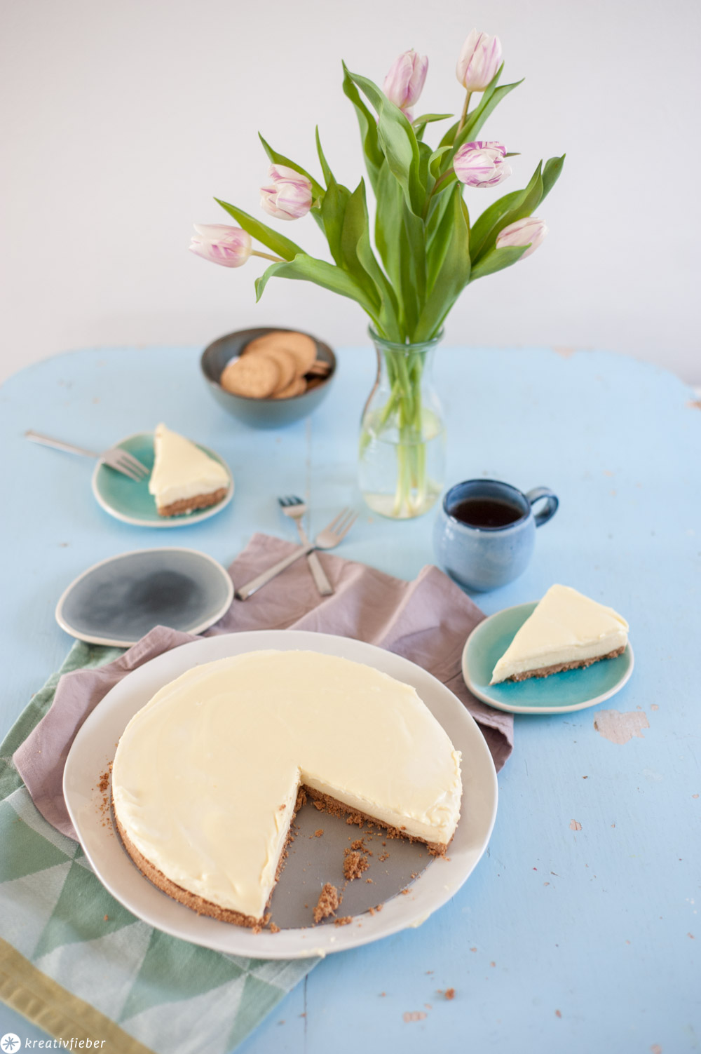 Cheesecake ohne backen mit weißer Schokolade