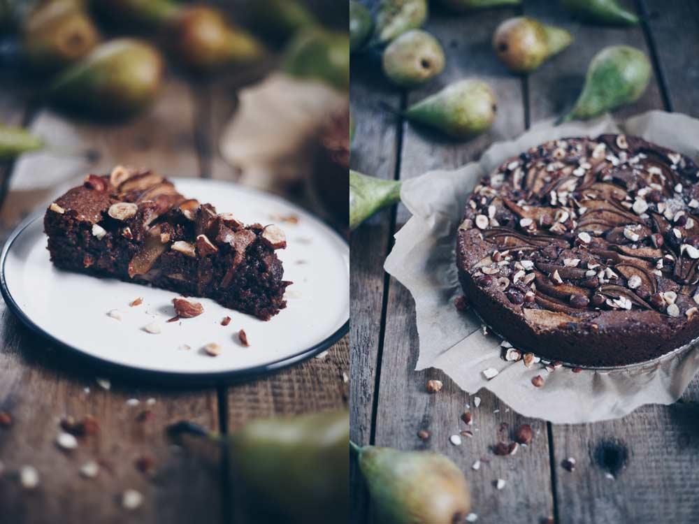 Schokonusskuchen mit Birnen Rezeptidee