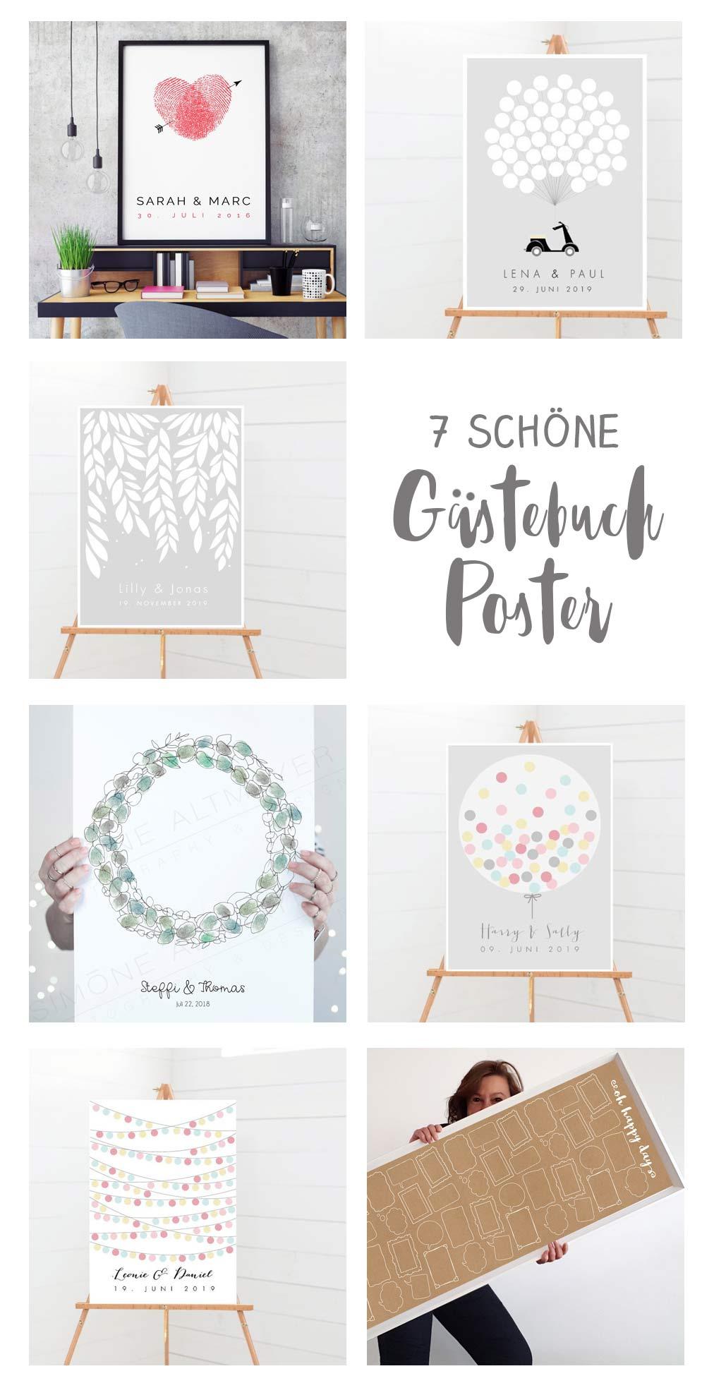 7 schöne Gästebuch Poster für eure Hochzeit - Fingerprint und Co - Individualisierbar