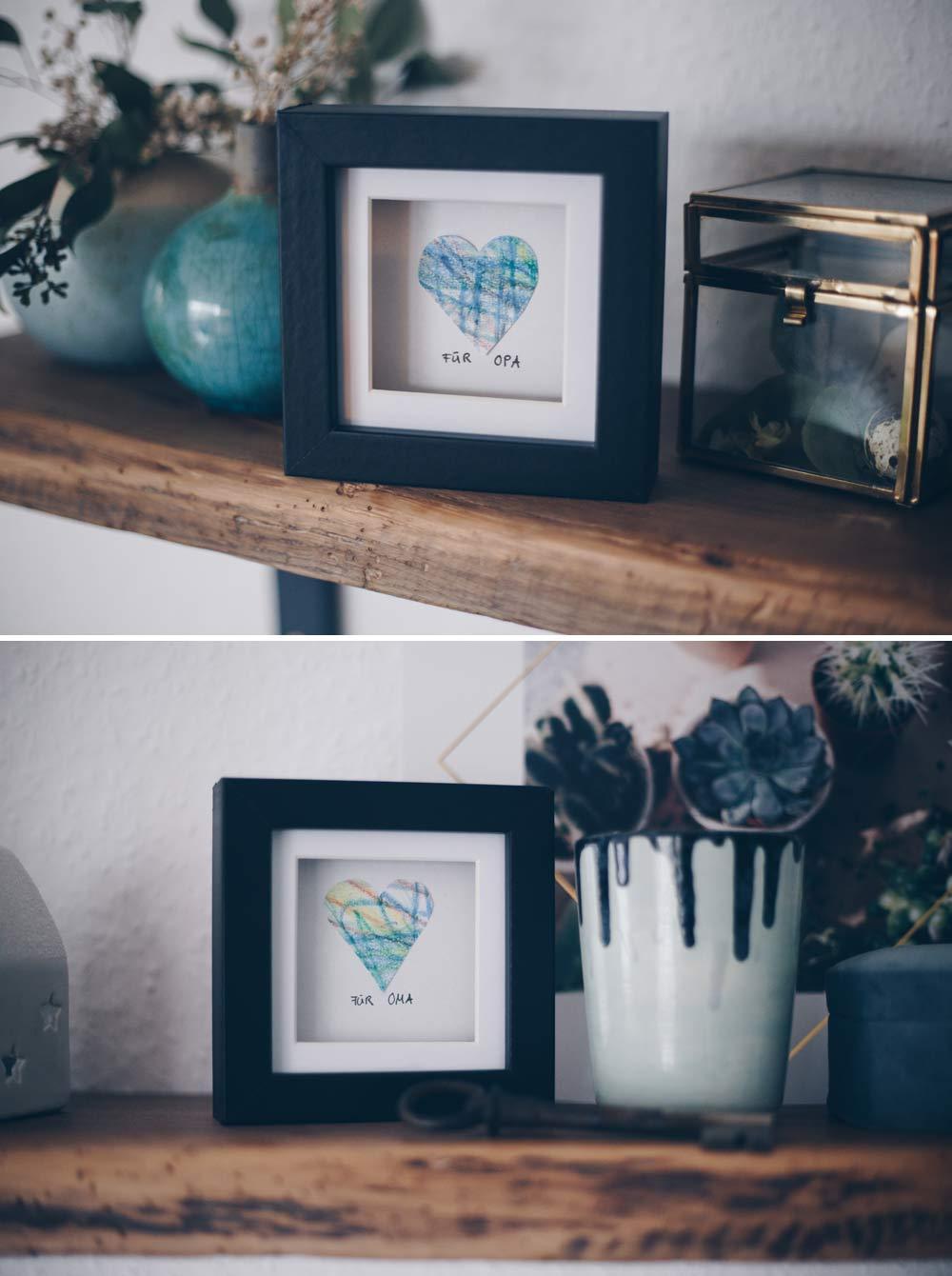 DIY Geschenkidee mit Kinderzeichnung - Geschenke basteln mit Kleinkind - Herz im Rahmen für Oma und Opa basteln