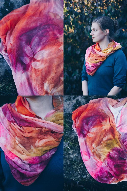 DIY Loopschal mit Seidenfarbe färben - Wasserfarben Look - Stoff in der Sonne bleichen mit Blättermuster