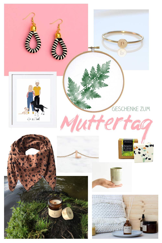 Collage mitschönen Geschenkideen zum Muttertag. Ohrringe, Seifen und andere Kleinigkeiten zum Verschenken
