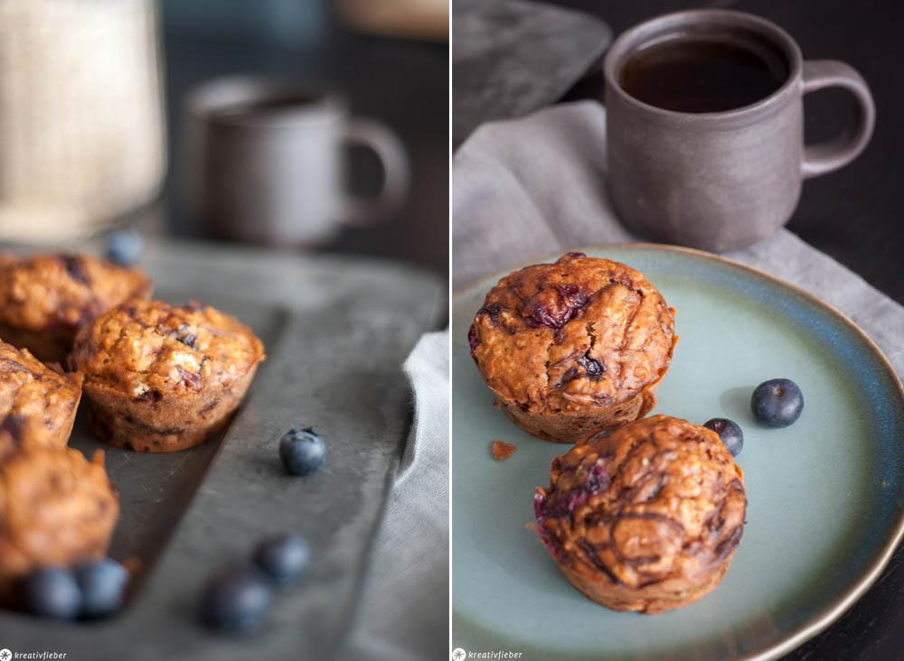 Muffins mit Blaubeeren und Tee
