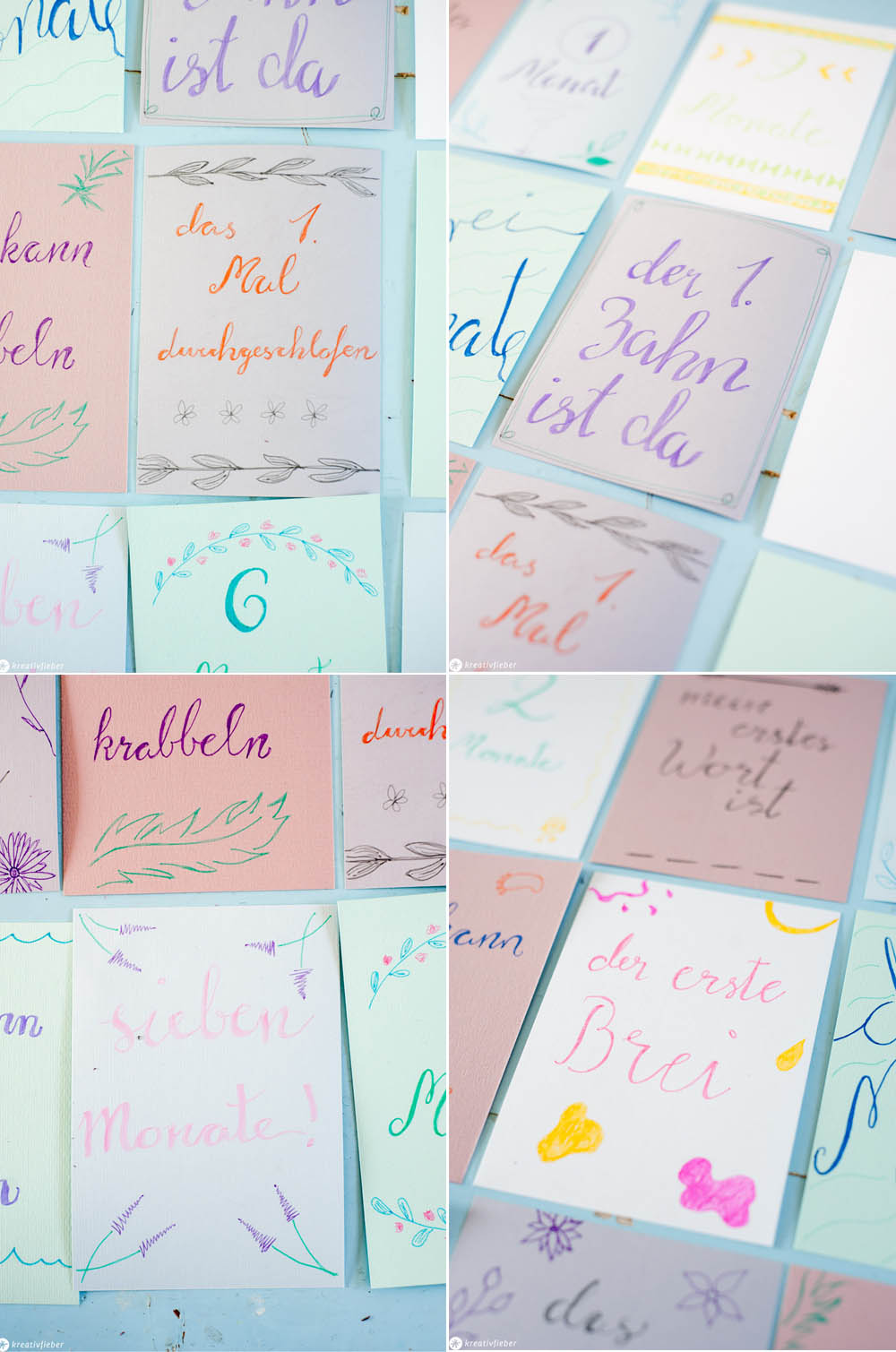 Ideen für Baby Meilenstein Karten