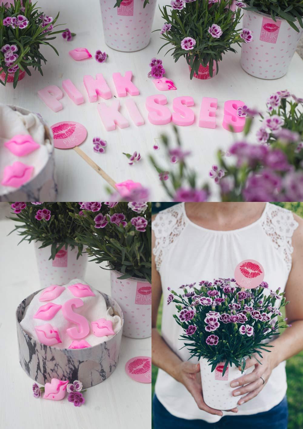 DIY Geschenkkorb für die beste Freundin im Marmorlook mit Pink Kisses Mininelken zum Verschenken und Buchstaben Seifen