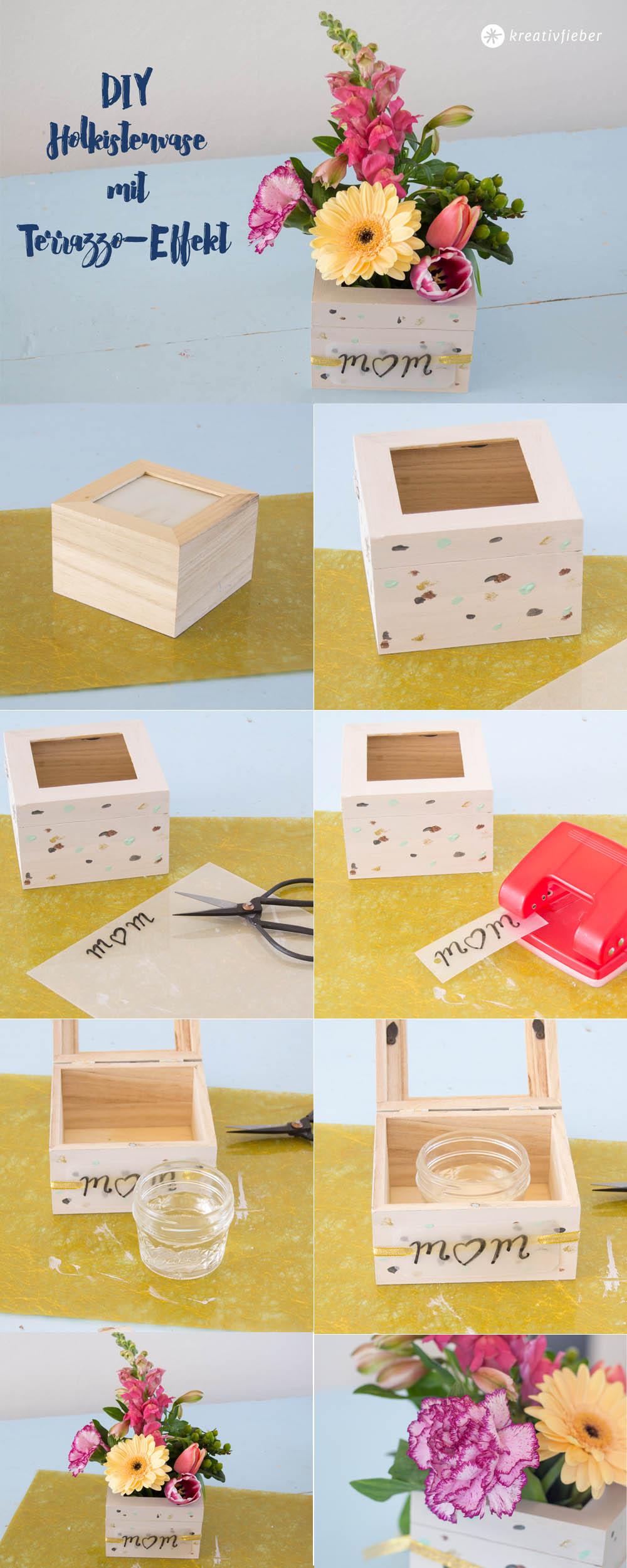 Anleitung Blumenvase aus Holzkiste basteln
