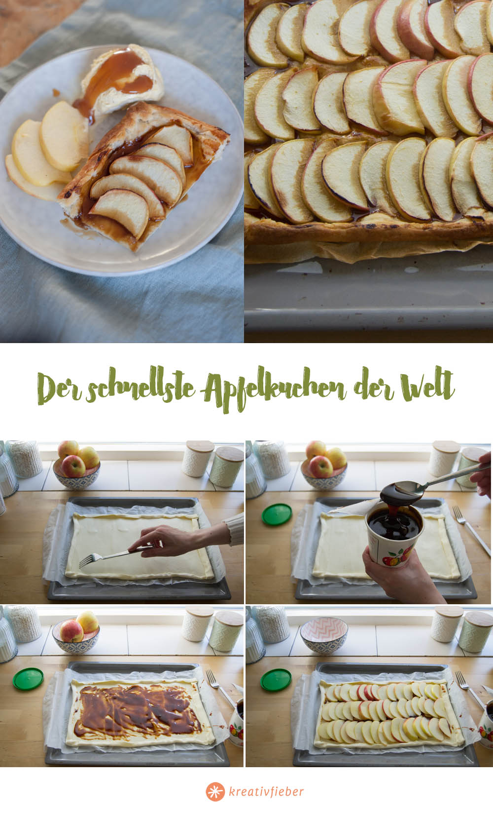 Schritt für Schritt Anleitung Apfelkuchen auf Blätterteig