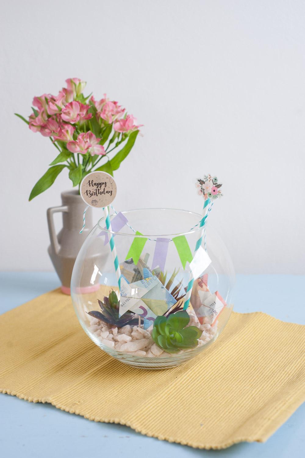 Geldfische gefaltet mit Mini Aquarium