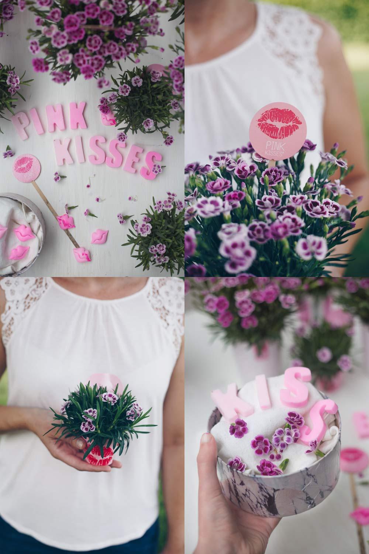 Geschenkidee für die beste Freundin - Pink Kisses rosa Mininelken verschenken im selbstgemachten Geschenkkorb mit Buchstabenseifen