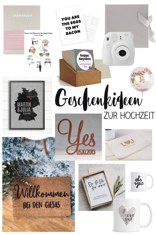 Schöne Geschenkideen zur Hochzeit - Collage mit Fussmatte, Postern, Tassen - Ideen die man personaliseren lassen kann und schöne Basics für Geldgeschenke