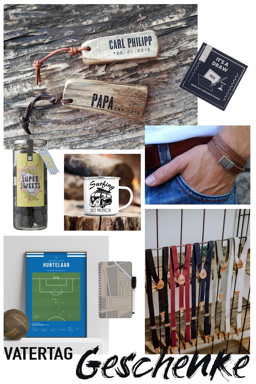 Verschiedene Geschenkideen zum Vatertag in einer Collage: Schlüsselanhänger, männliche Armbänder und Co.