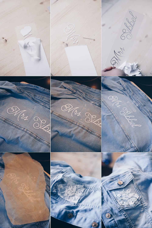 DIY Brautjeansjacke selbermachen Schritt für Schritt Fotos in der Übersicht
