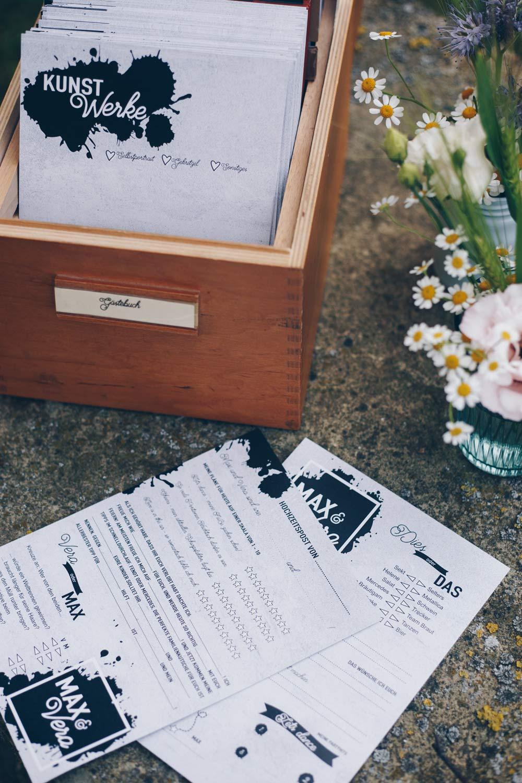 DIY Gästebuchkarten selbermachen zur Hochzeit - über 15 Ideen für Texte und Fragen für Gästebuchkarten im vintage Karteikartenkasten