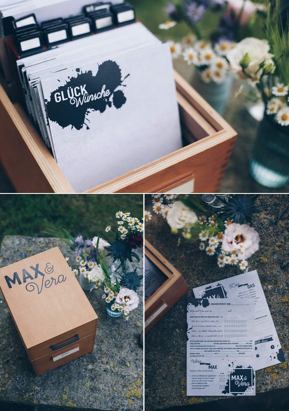 DIY Hochzeitsgästebuch in vintage Karteikartenkasten mit über 15 Ideen für DIY Gästebuchkarten - Lückentexte, Texte und Fragen