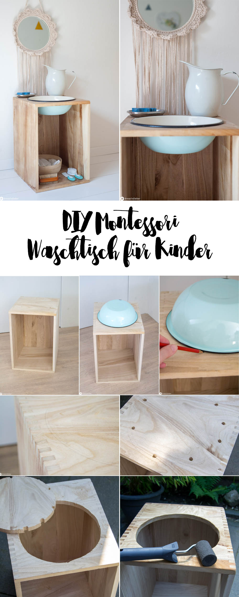 Anleitung Waschtisch für Kinder bauen, Montessori Idee