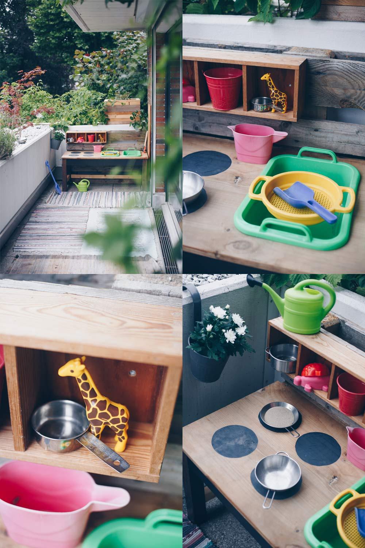 Matschküche für Kinder aus altem Tisch und Palette selberbauen - DIY Upycling Idee